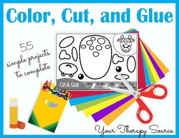 Color, Cut, and Glue - Fine Motor, Sequencing and Visual Perceptual Skills
