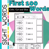 Sight Word Activities for First 100 Words Color Cut and Glue Sentences