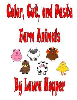 Color, Cut, and Paste Farm Animals