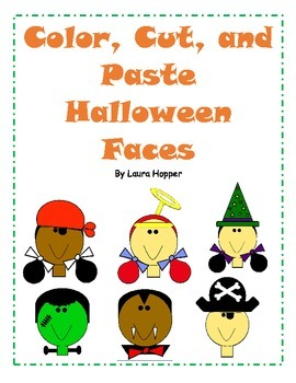 Color, Cut, and Paste Halloween Faces