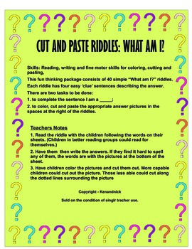 Color, Cut and Paste Riddles