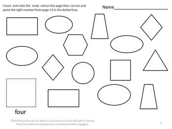 Shapes-Color, Cut and Paste Printable Counting Addition Subtraction Bundle