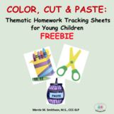 Color, Cut and Paste: Thematic Homework Tracking Sheets  NO PREP