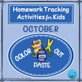 Color, Cut and Paste: Thematic Homework Tracking Sheets: October  NO PREP