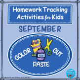 Color, Cut and Paste: Thematic Homework Tracking Sheets: September  NO PREP