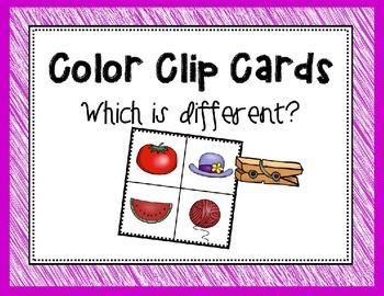 Color Difference Clothespin Clip Cards