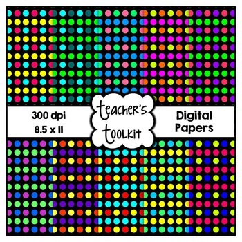 Color Dots On Black Digital Background Papers {8.5 x 11} C