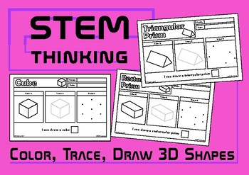 Color, Draw, Trace 3D Shapes Worksheets, STEM