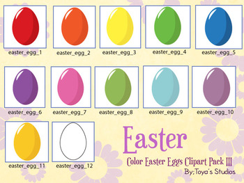 Color Easter Eggs Clipart Pack III