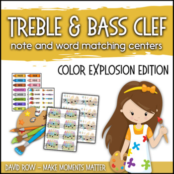Treble Clef & Bass Clef Note Matching Centers - Color Explosion Edition