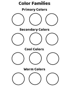 Color Families Practice/Assessment Sheet