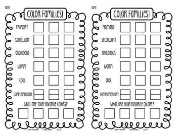 Color Family Portraits Art Worksheet (2 per page!)