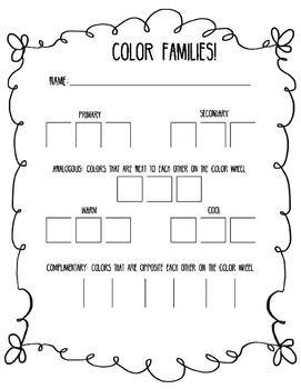 Color Family Worksheet