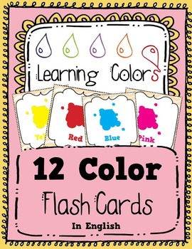 Learning Colors - 12 Flash Cards in English