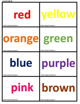 Color Flash Cards with Data Collection Sheets