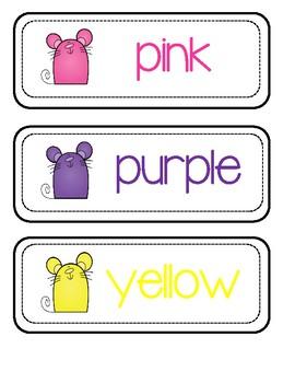 Color Flash Cards - Little Mice