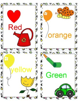 Color Flashcards. Great for young kids. 10 cards.