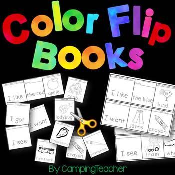 Color Word Flip Books Kindergarten and 1st Grade Reading Practice