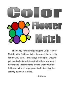 Color Flower Match File Folder Activity (Black & White Version)
