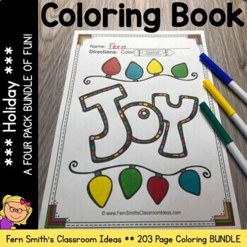 thanksgiving hanukkah christmas and halloween 203 page coloring book bundle