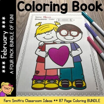 February Coloring Pages - A Four Pack Coloring Book