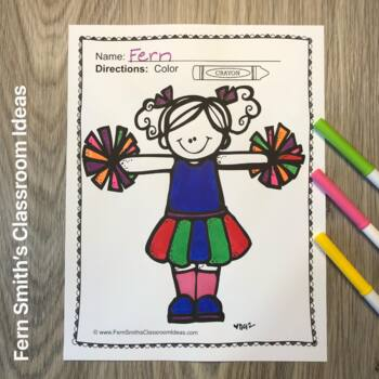 FREE Coloring Pages of Football and Cheerleading Fun!