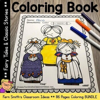 Coloring Pages for Classic Stories and Fairy Tales Bundle