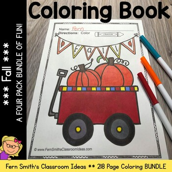 Fall Coloring Pages - A Four Pack Coloring Book Bundle