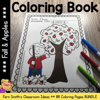 Coloring Pages for Fall and Apples Bundle
