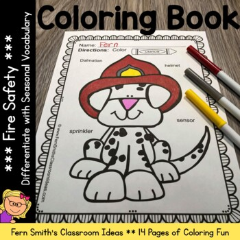 Fire Safety Coloring Pages with Differentiated Vocabulary Dollar Deal