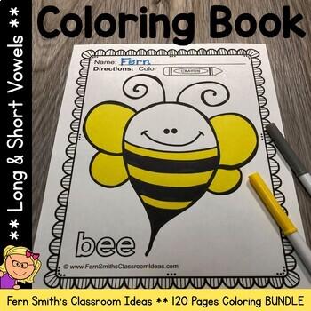 Long Vowels Coloring Pages and Short Vowels Coloring Pages Bundle