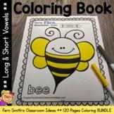 Long Vowel and Short Vowel Coloring Pages - 120 Page Coloring Book Bundle