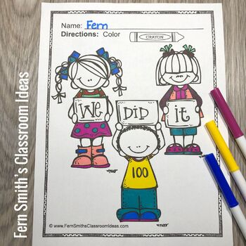 100th Day of School Coloring Pages and New Years Coloring Pages Bundle