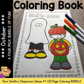 Coloring Pages for October A Four Pack Color For Fun Bundle
