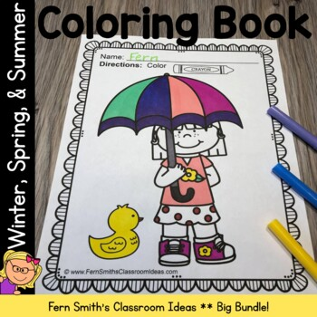 Spring Coloring Pages with Summer & Winter Bundle Printable Distance Learning