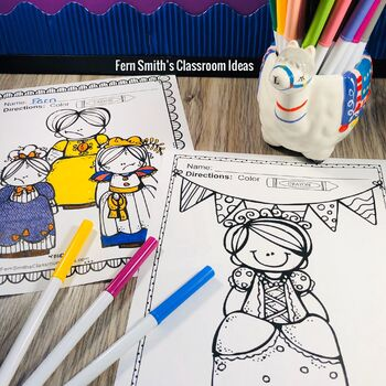 Spring Coloring Pages and Fairy Tales Coloring Pages Bundle