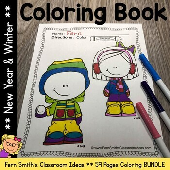 Winter Coloring Pages and New Years Coloring Pages Bundle