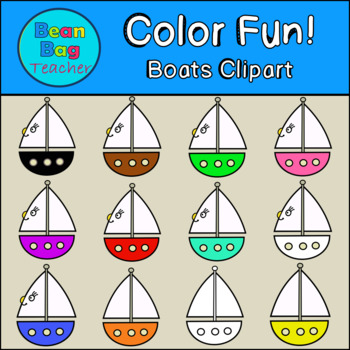 Color Fun! Boats Clipart - Commercial Use