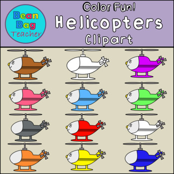 Color Fun! Helicopters Clipart - Commercial Use