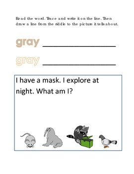 Color Gray Reading Riddles Word Clues Emergent Reader Interactive What am I