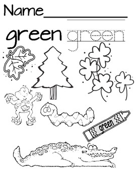 Color Green Coloring/Tracing Page