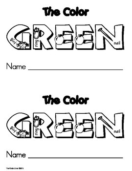 Color Green Emergent Leveled Reader ** Perfect for Read to Self