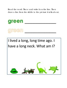 Color Green Reading Riddles Word Clues Emergent Reader Int