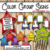 Color Group Signs --- EDITABLE Group / Table Signs for Flexible Grouping