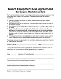 Color Guard Equipment Use Agreement