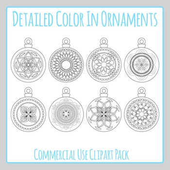 Color In Designs Christmas Ornaments / Baubles Clip Art Pack for Commercial Use