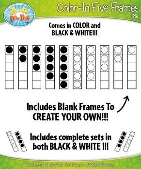 Color-In Five Frames Math Clip Art Set — Over 10 Graphics!