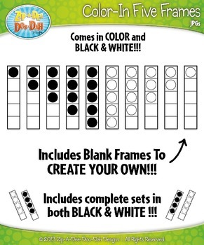 Color-In Five Frames Math Clipart {Zip-A-Dee-Doo-Dah Designs}