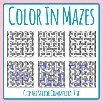 Color In Mazes With Solutions Clip Art Set for Commercial Use