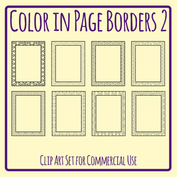 Color In Page Borders 2 / Blank Pages with Edges for Coloring Clip Art Templates
